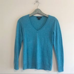 Ann Taylor   Cashmere V-Neck Sweater Turquoise